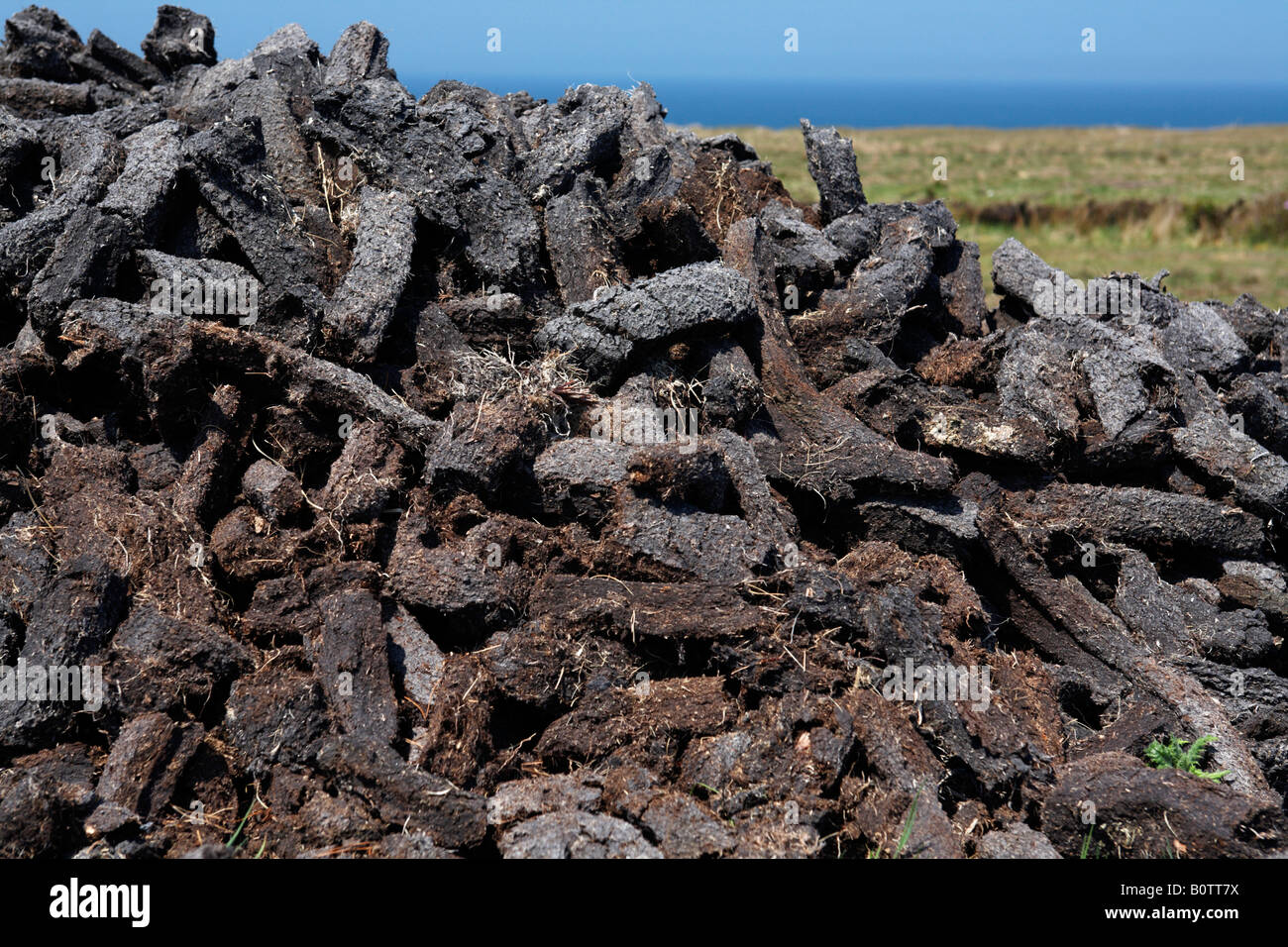pile of cut turf peat drying in the sun to be used as household fuel later in the year in county mayo republic of Stock Photo