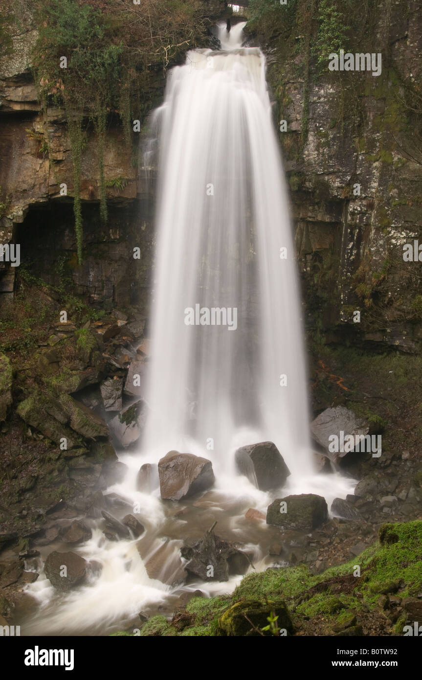 Melin Court waterfall, Resolven, Vale of Neath, Wales Stock Photo