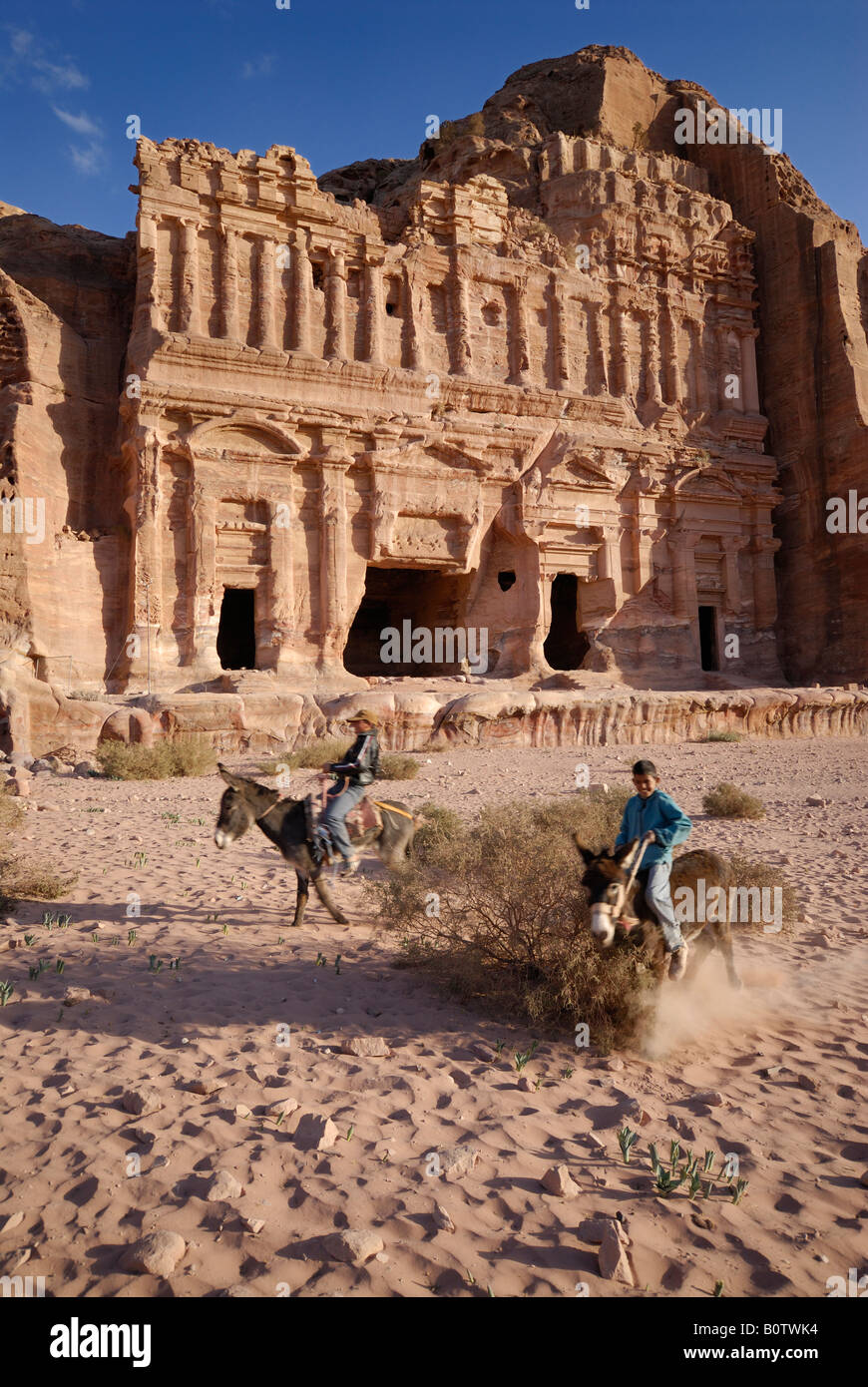 Palace Tomb The Royal Tombs carved out of the west face of al Khubtha mountain Nabataean ancient town Petra Jordan Stock Photo