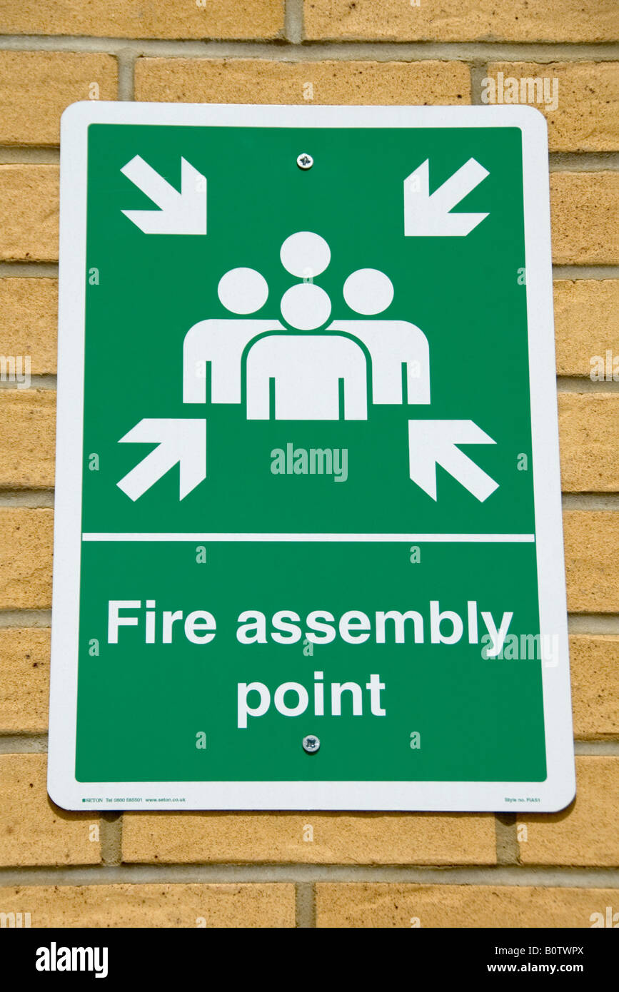 Fire Assembly Point sign, Whittington Hospital, Archway, London, England, UK - Stock Image