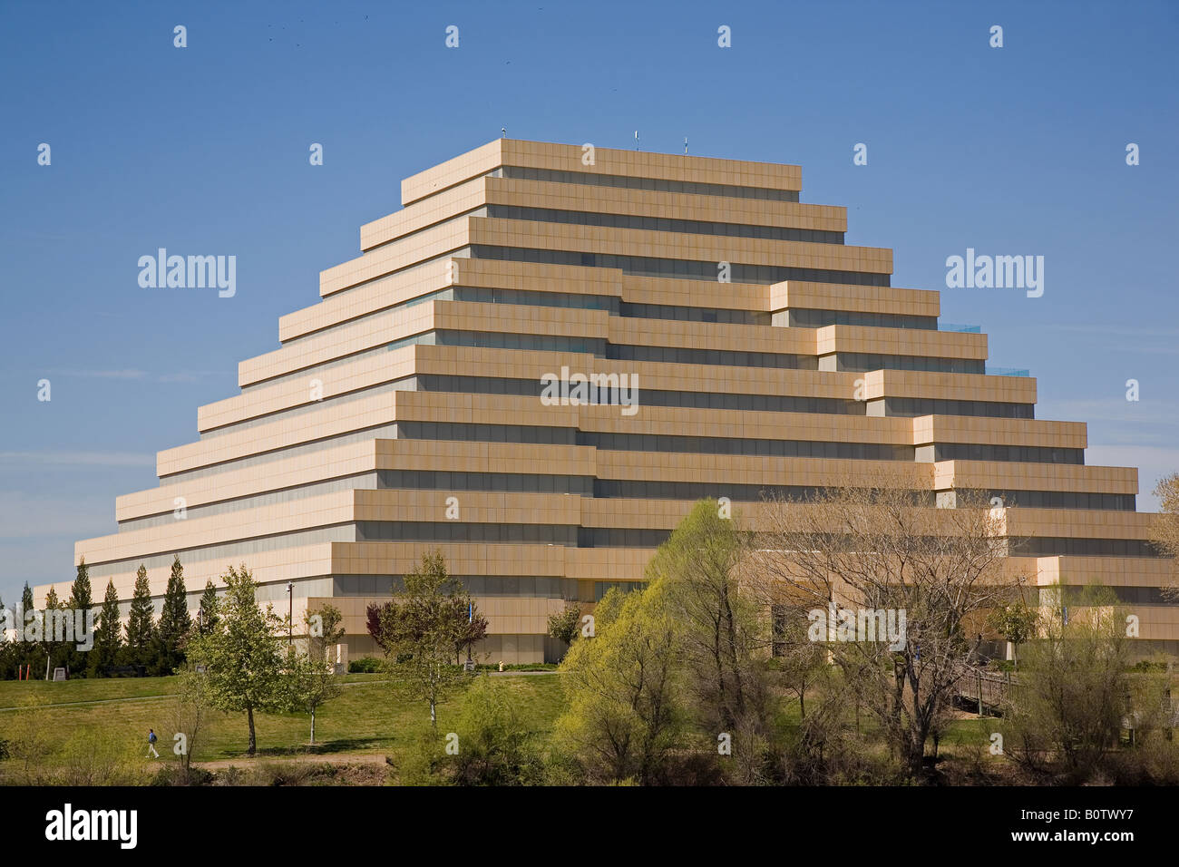 The Ziggurat Building, Located In The City Of West Sacramento, CA, USA Has  A Distinct Pyramid Design.