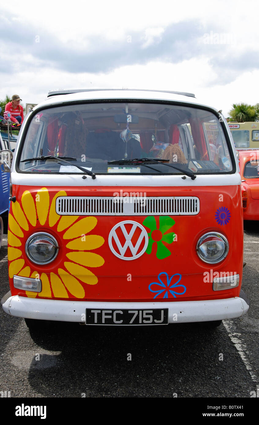 a caravanette at the annual run to the sun event at newqauy,cornwall,england - Stock Image