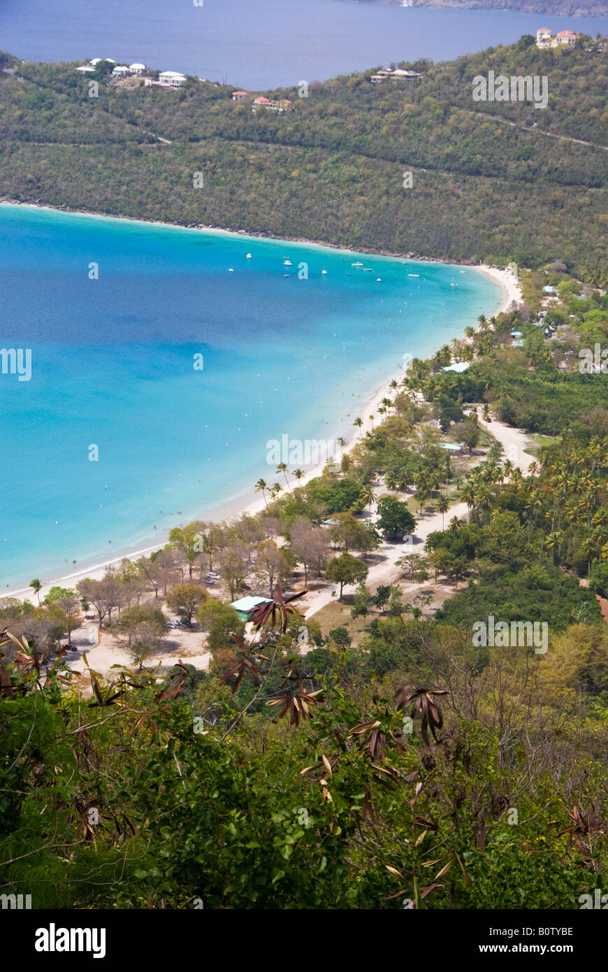 US Virgin Islands St Thomas Charlotte Amalie view from height near Bellevue Stock Photo