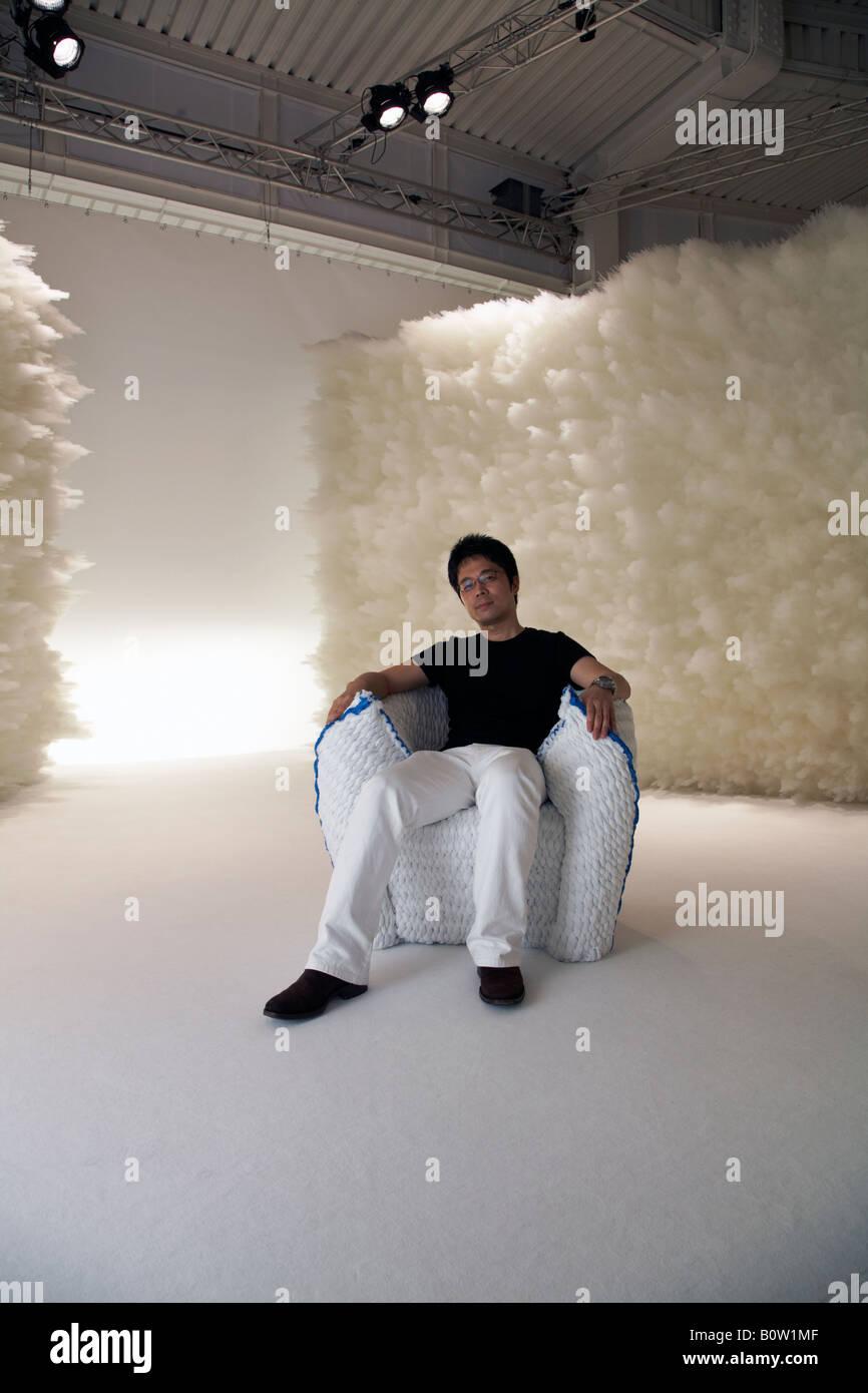 Tokujin Yoshioka with Panna chair in Moroso showroom at Salone del