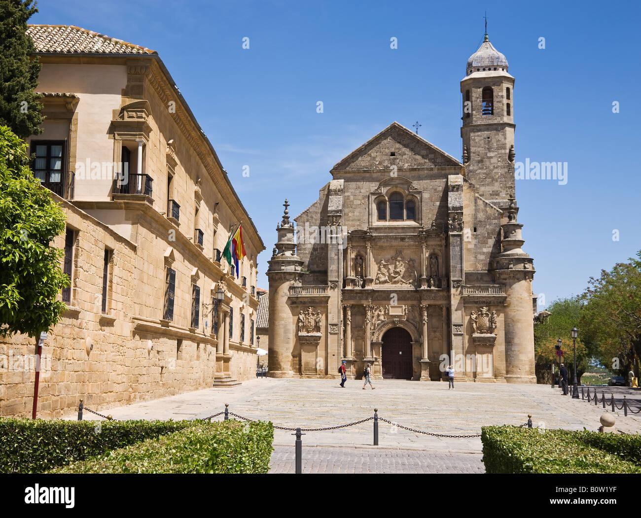 Ubeda Jaen Province Spain Capilla de El Salvador in Plaza Vázquez de Molina with Casa de Dean Ortega now Parador - Stock Image