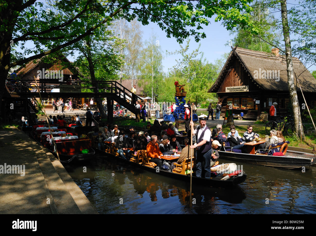 punt boats in lehde village in spreewald forest region eastern stock photo 17760896 alamy. Black Bedroom Furniture Sets. Home Design Ideas