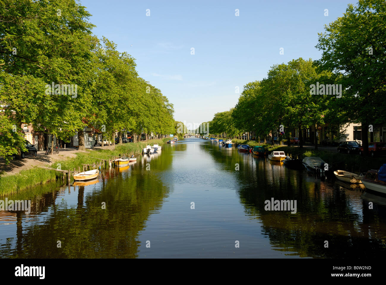 Channel with boats in Den Helder, the Netherlands - Stock Image