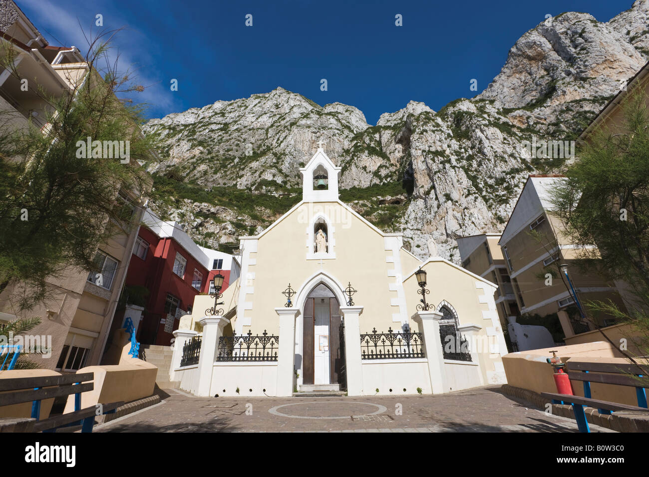 Gibraltar Our Lady of Sorrows church in Catalan Bay Stock Photo