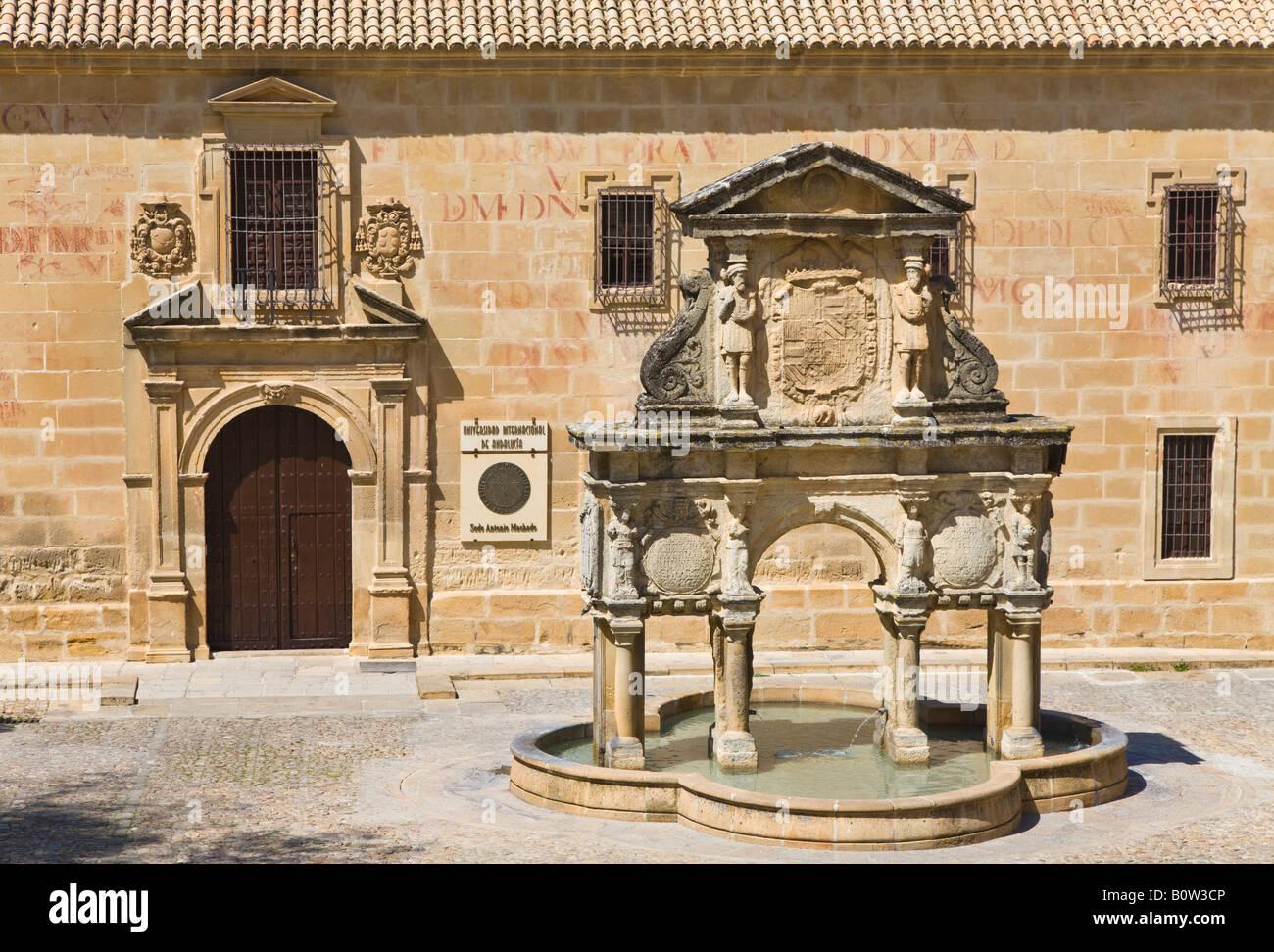 Baeza Jaen Province Spain Fuente de Santa Maria in Plaza de Santa Maria. Seminario de San Felipe Neri behind. - Stock Image