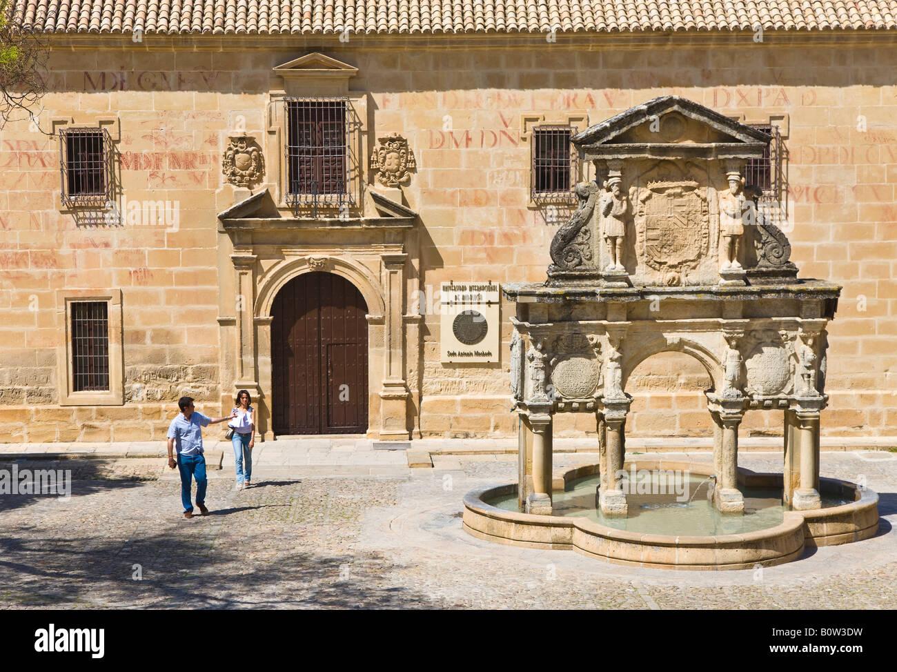 Baeza Jaen Province Spain 16th century Fuente de Santa Maria in Plaza de Santa Maria Seminario de San Felipe Neri - Stock Image