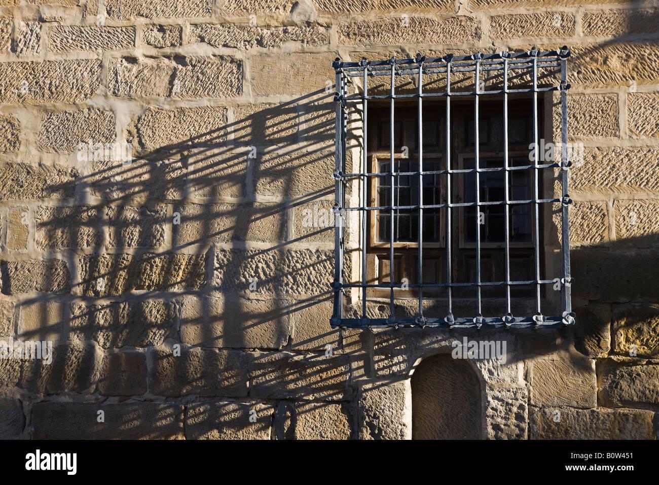 Baeza Jaen Province Spain Iron grill on window of Antiguo Hospital de San Antonio Abad now Cultural Centre - Stock Image