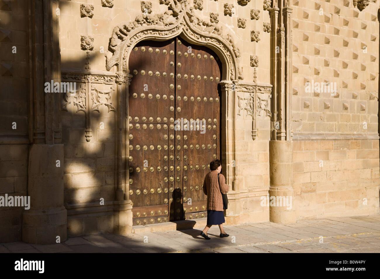 Baeza Jaen Province Spain Door and facade of Universidad Internacional de Andalucia Antonio Machado Palacio de Jabalquinto - Stock Image