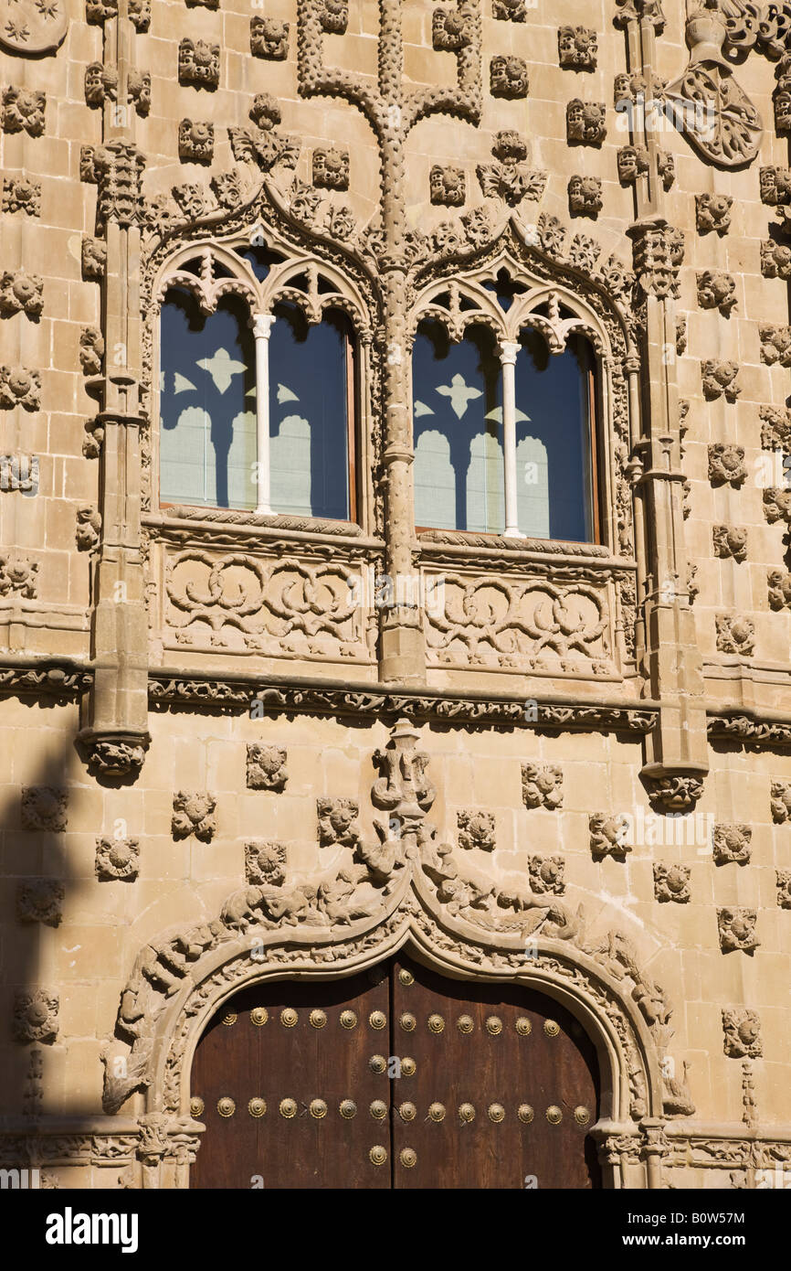 Baeza Jaen Province Spain Windows in facade of Universidad Internacional de Andalucia Antonio Machado Palacio de - Stock Image