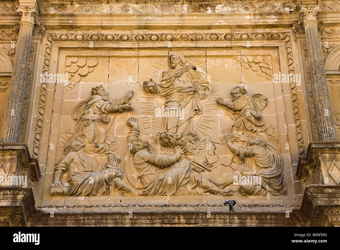 Ubeda Jaen Province Spain Bas relief figures on Capilla de El Salvador in Plaza Vázquez de Molina - Stock Image