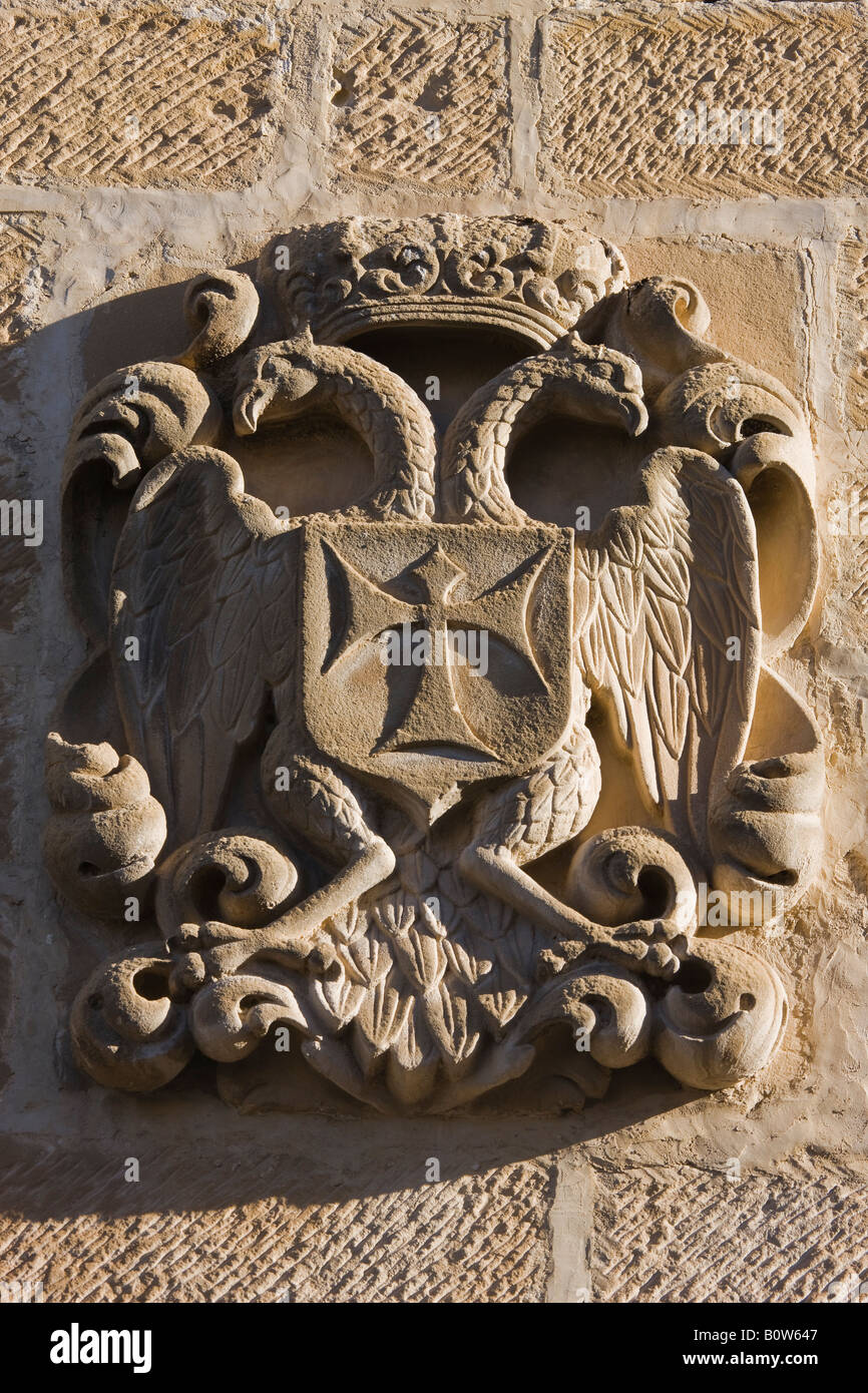 Baeza Jaen Province Spain Escutcheon on wall of Antiguo Hospital de San Antonio Abad now Cultural Centre - Stock Image
