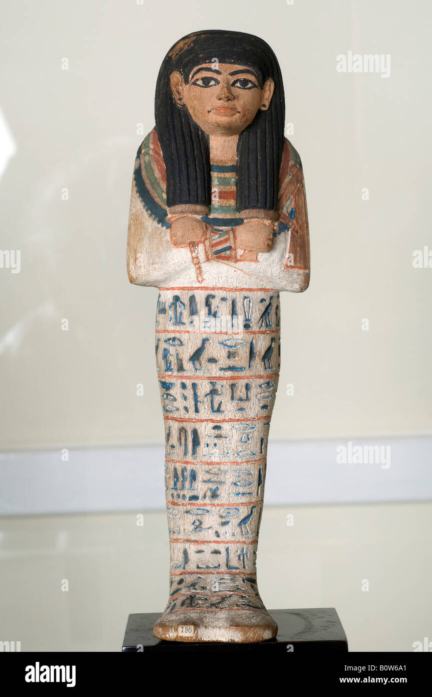 Egyptian Female Shabti figure from a tomb of the 18th Dynasty displayed at Chiddingstone Castle near Tunbridge Wells - Stock Image