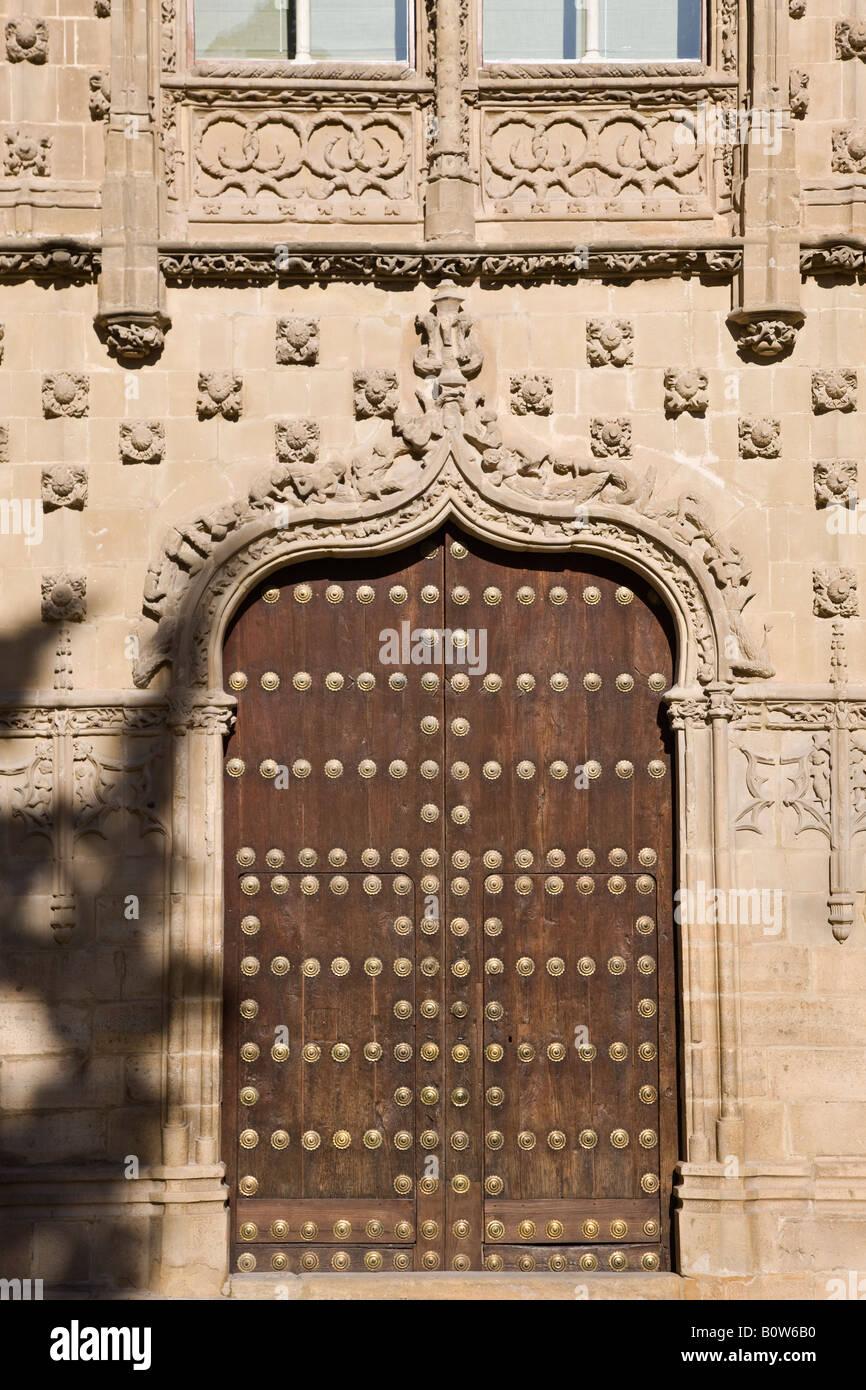 Baeza Jaen Province Spain Door of Universidad Internacional de Andalucia Antonio Machado in the Palacio de Jabalquinto - Stock Image