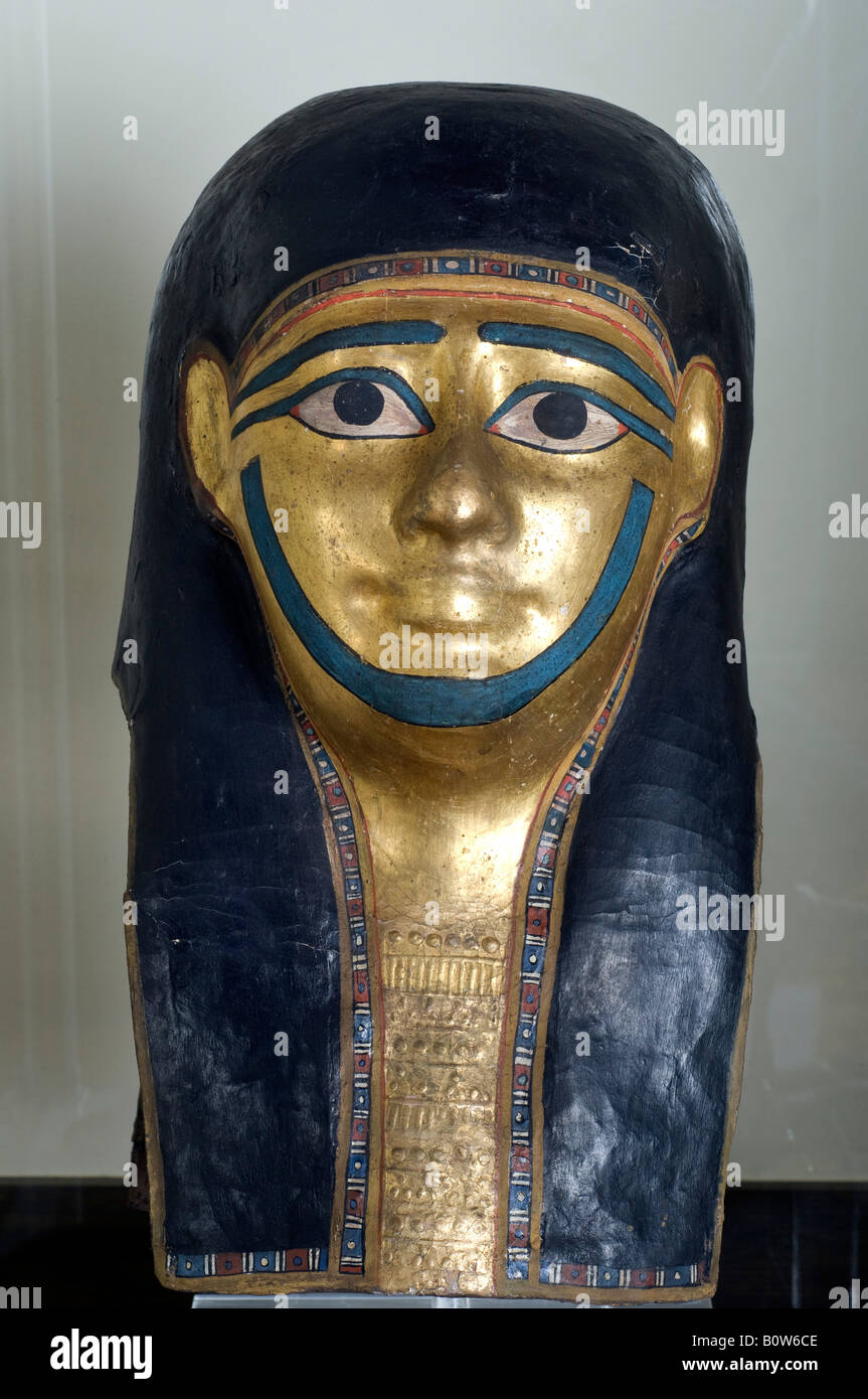 Egyptian Funerary mask from the Graeco Roman period - Stock Image