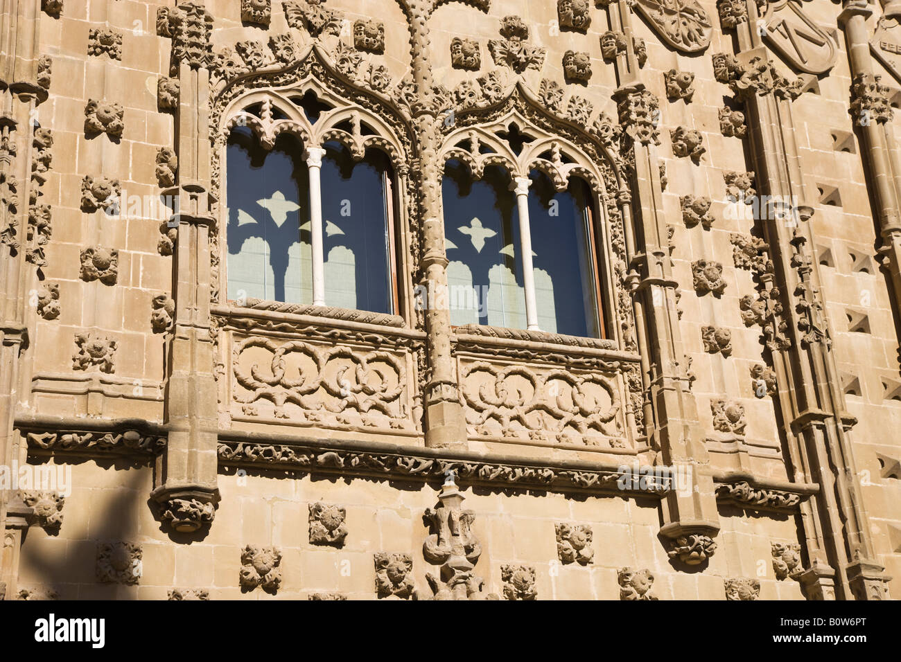 Baeza Jaen Province Spain Windows in facade of Universidad Internacional de Andalucia Antonio Machado in Palacio - Stock Image