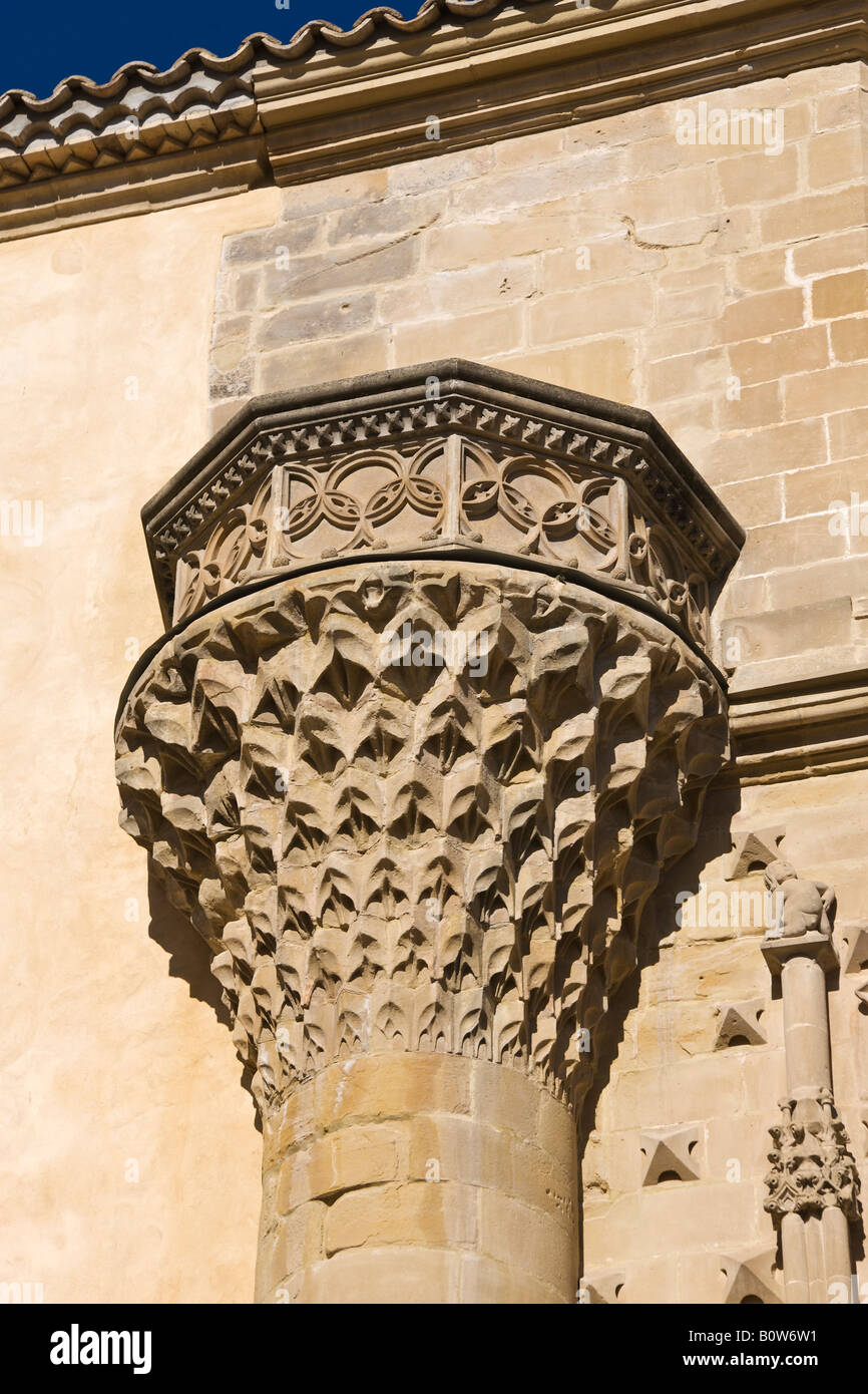 Baeza Jaen Province Spain Column on facade of Universidad Internacional de Andalucia Antonio Machado Palacio de - Stock Image