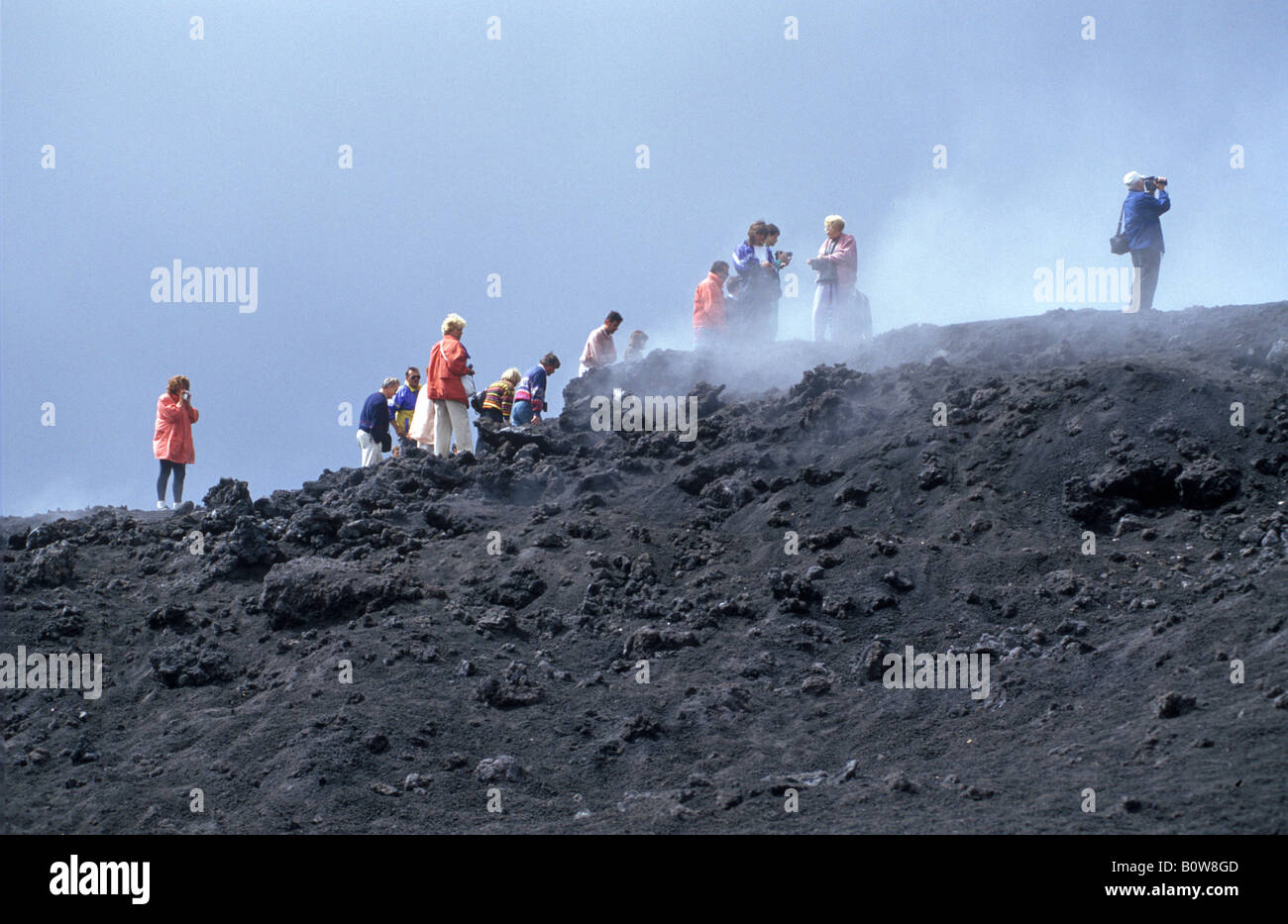 Mount Etna, guided tour in the lava fields created by the 1989 eruption, Sicily, Italy, Europe - Stock Image