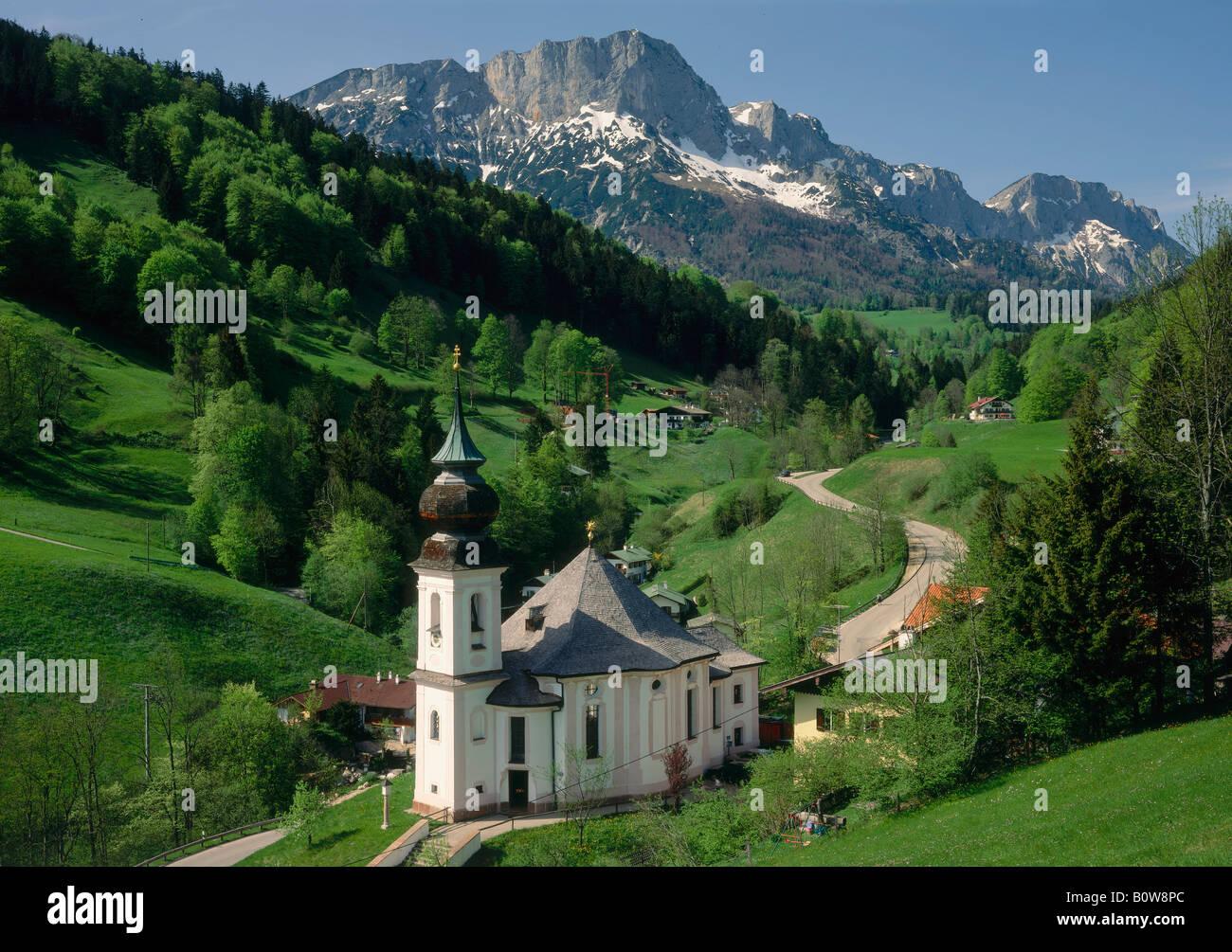 Maria Gern pilgrimage church, Mt. Hoher Goell, Upper Bavaria, Bavaria, Germany Stock Photo