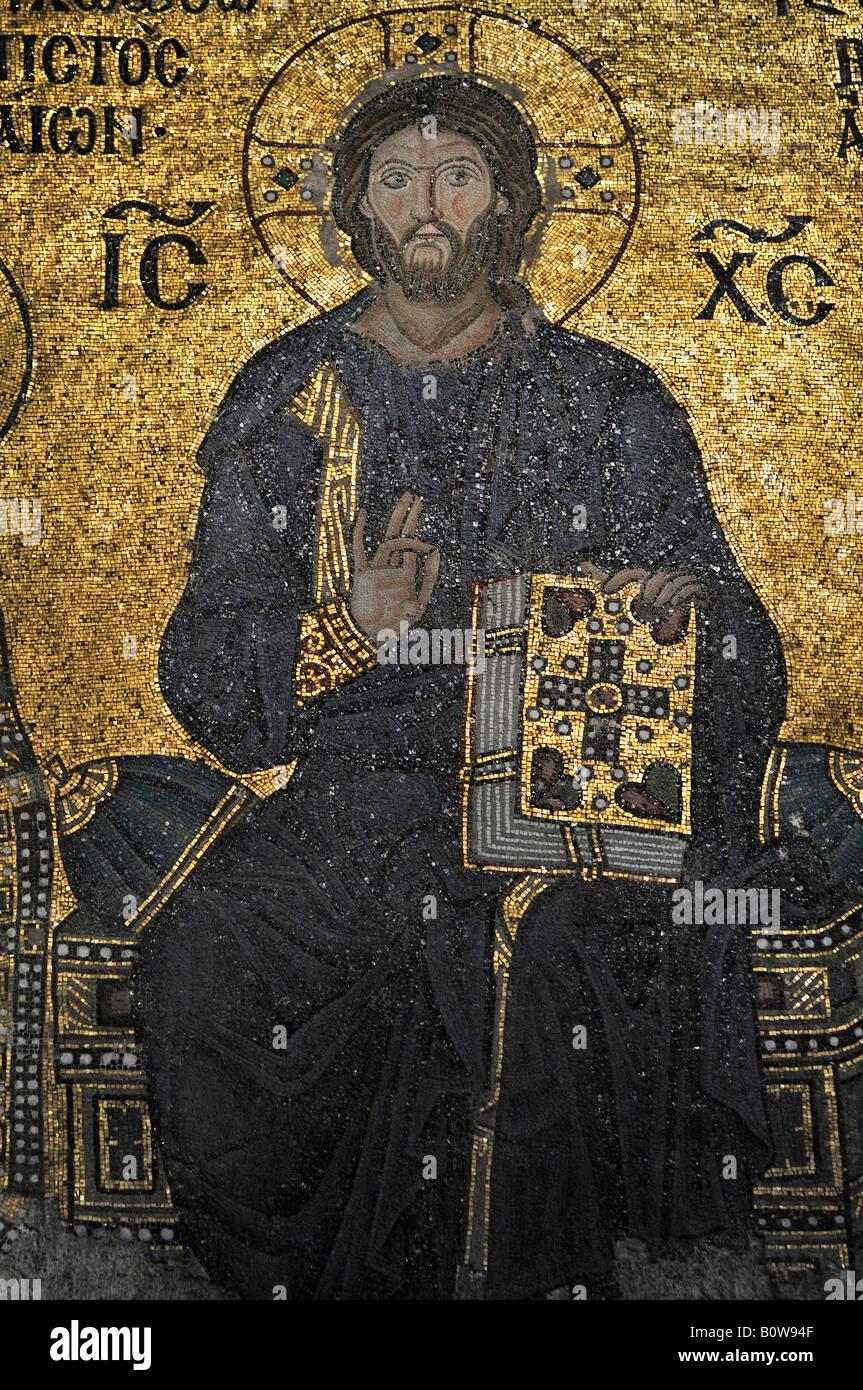 Byzantine mosaic of Jesus in the Hagia Sophia, Istanbul, Turkey Stock Photo