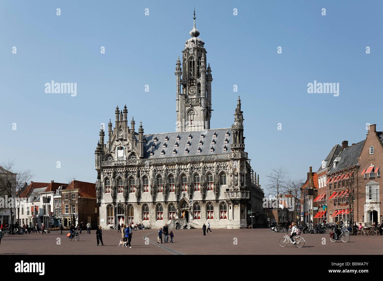 Fifteenth-century Town Hall, Stadthuis, Middelburg, Walcheren, Zeeland, Netherlands - Stock Image