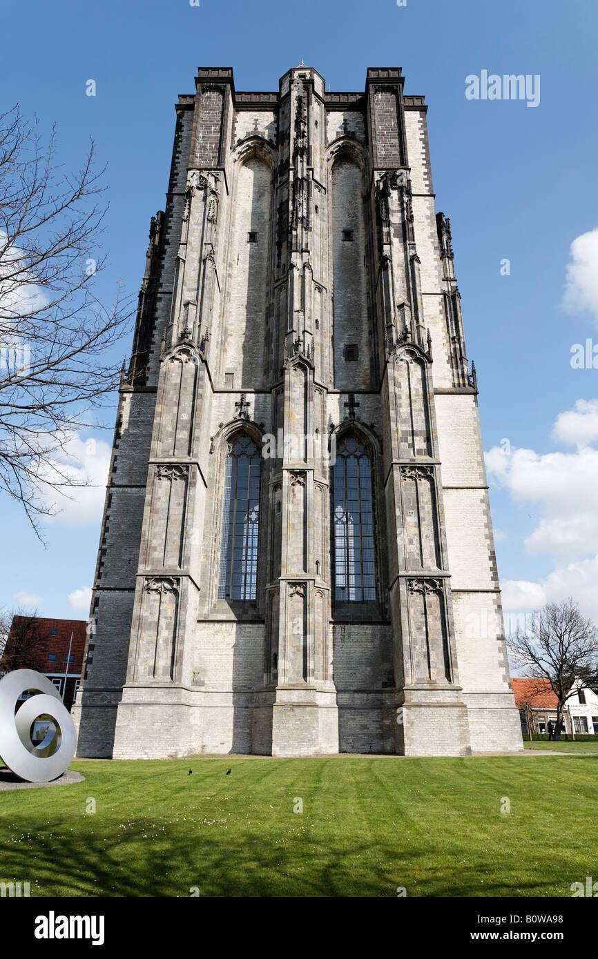 Dicke Toren, unfinished sixteenth-century church tower, Zierikzee, Schouwen-Duiveland, Zeeland, Netherlands - Stock Image