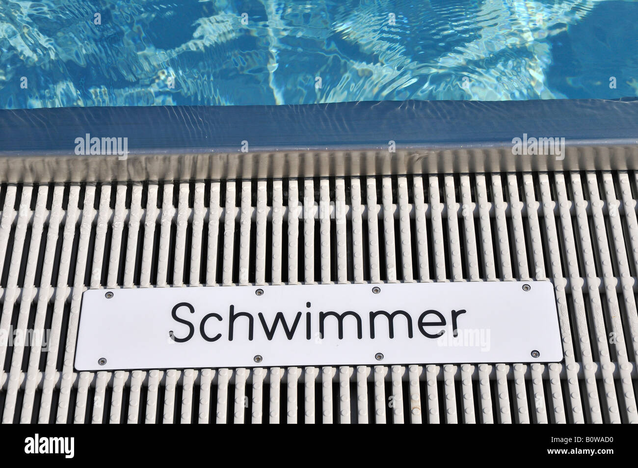Sign, Schwimmer, swimmers, at the Schyrenbad swimming pool in Munich, Bavaria, Germany - Stock Image