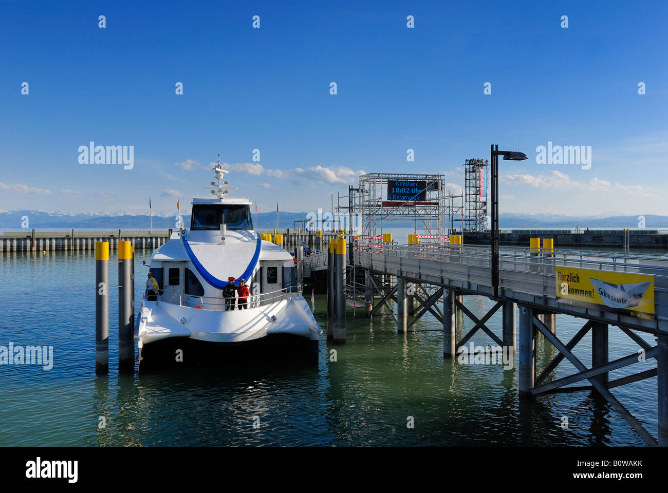 "Lake Constance catamaran ""Fridolin"" in the harbour of Friedrichshafen, Baden-Wuerttemberg, Germany, Europe Stock Photo"
