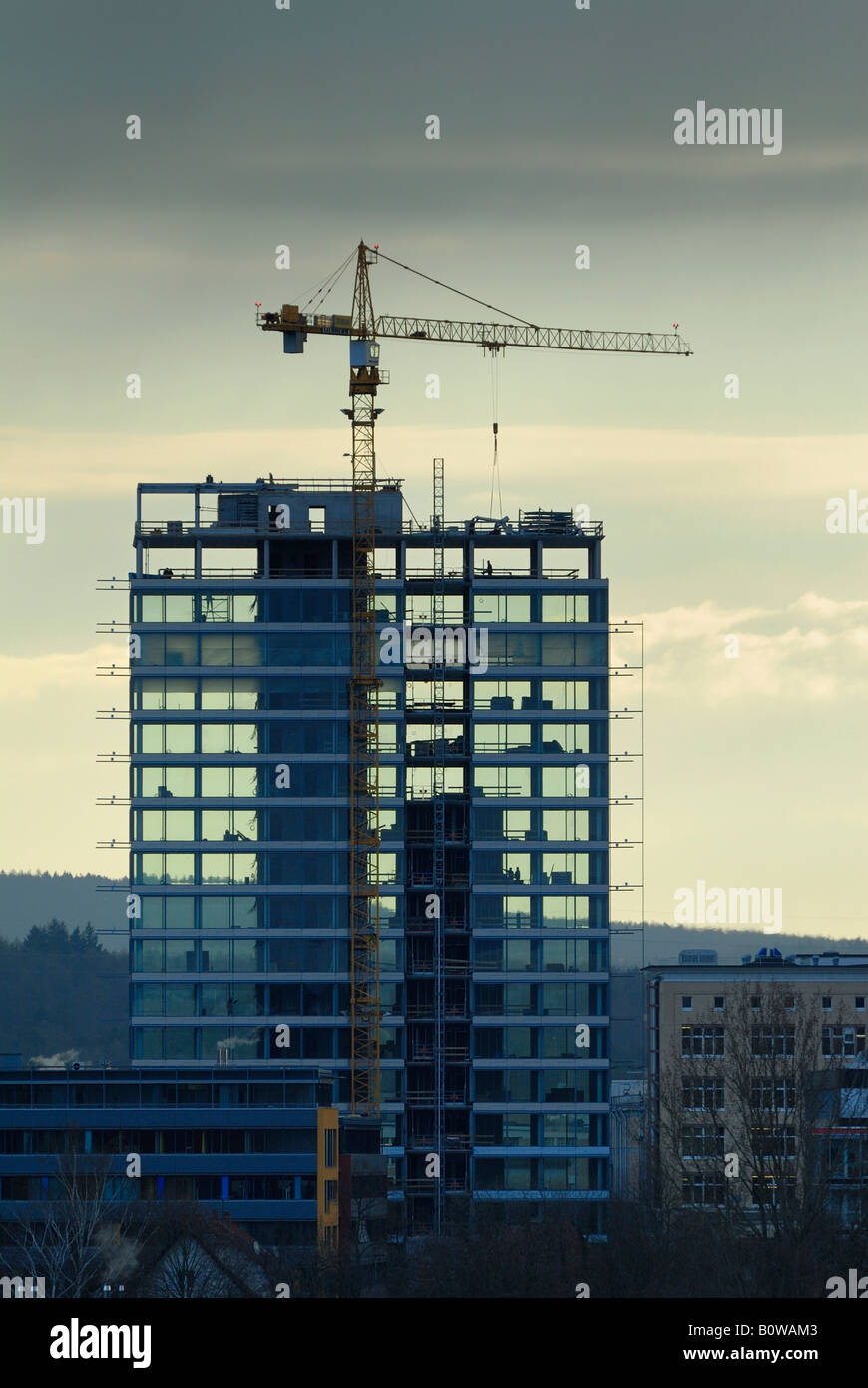 Construction of the Hegau Tower, Singen am Hohentwiel, Baden-Wuerttemberg, Germany, Europe - Stock Image