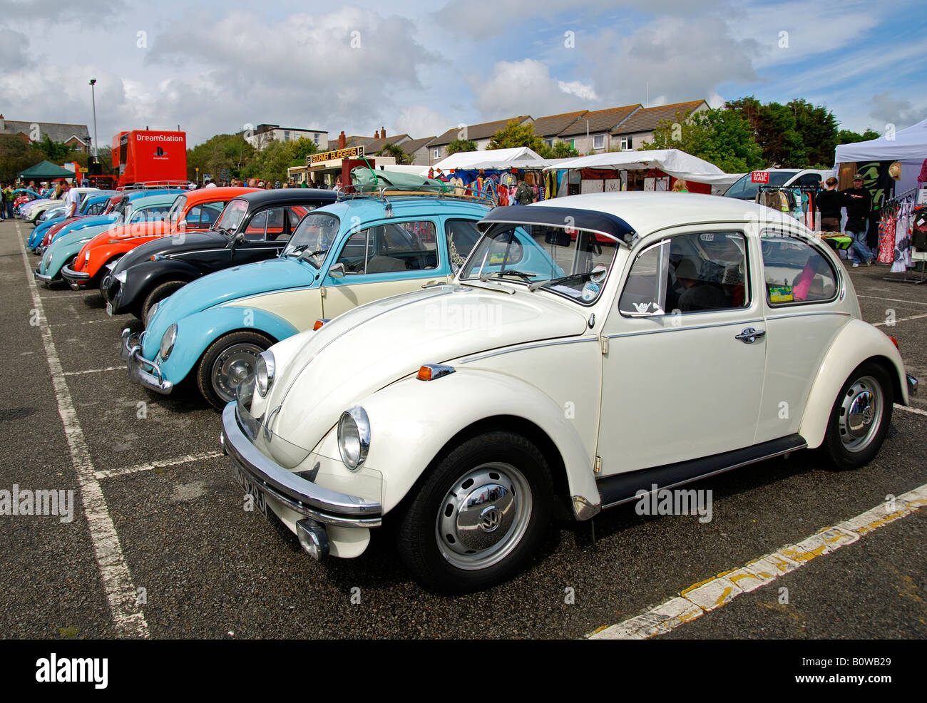 volkswagen beetles on show at the annual 'run to the sun' event at newquay in cornwall,england - Stock Image