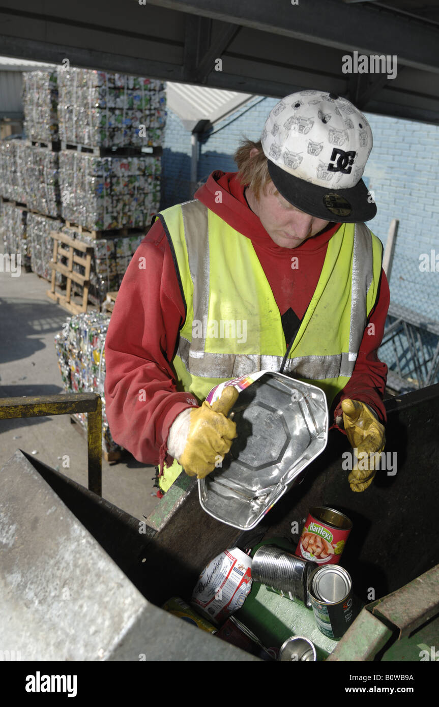 Aluminium and steel can recycling at Teignbridge district council recycling yard in Newton Abbot Devon - Stock Image