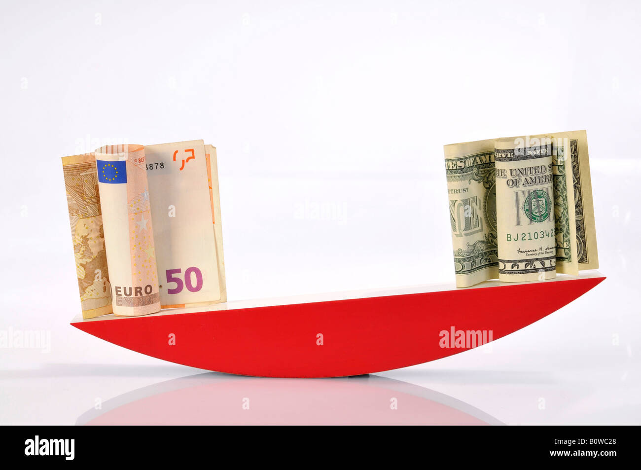 Euro banknotes and US Dollar bills on a scale - Stock Image