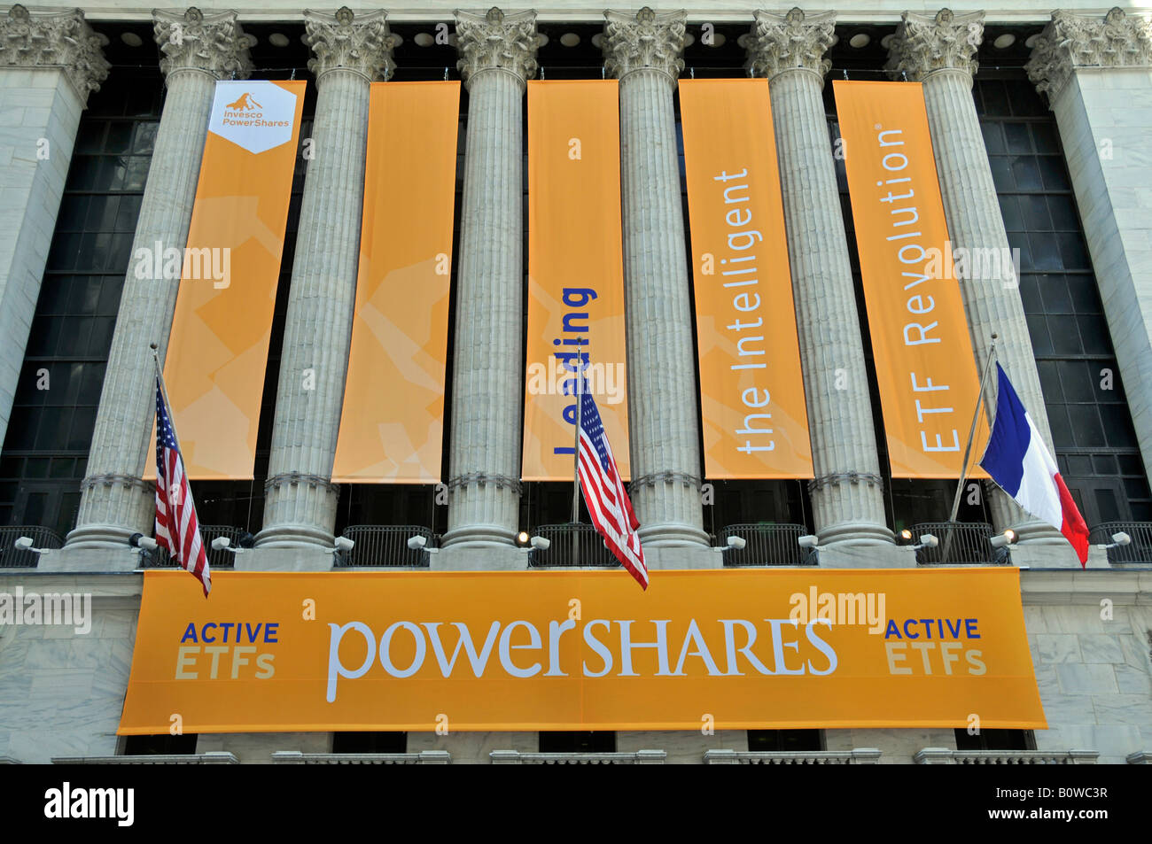 Invesco PowerShares, provider of exchange-traded funds, ETF, New York Stock Exchange, NYSE, Wall Street, Manhattan, Stock Photo