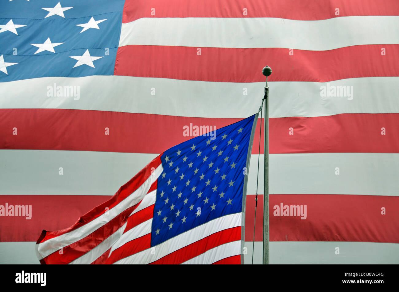 US flags, New York Stock Exchange, NYSE, Wall Street, Manhattan, New York City, USA - Stock Image