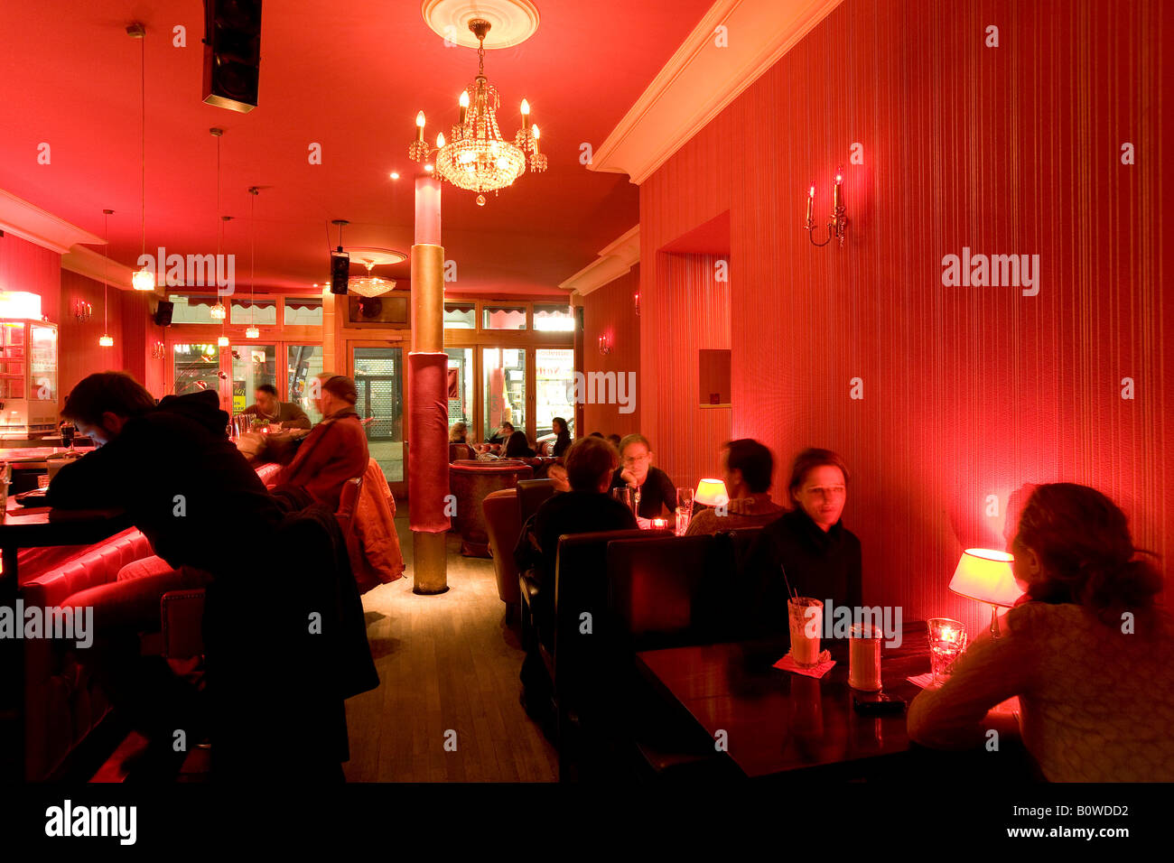 Meeting point in the Red Lounge in Ottensen, Hamburg, Germany, Europe - Stock Image