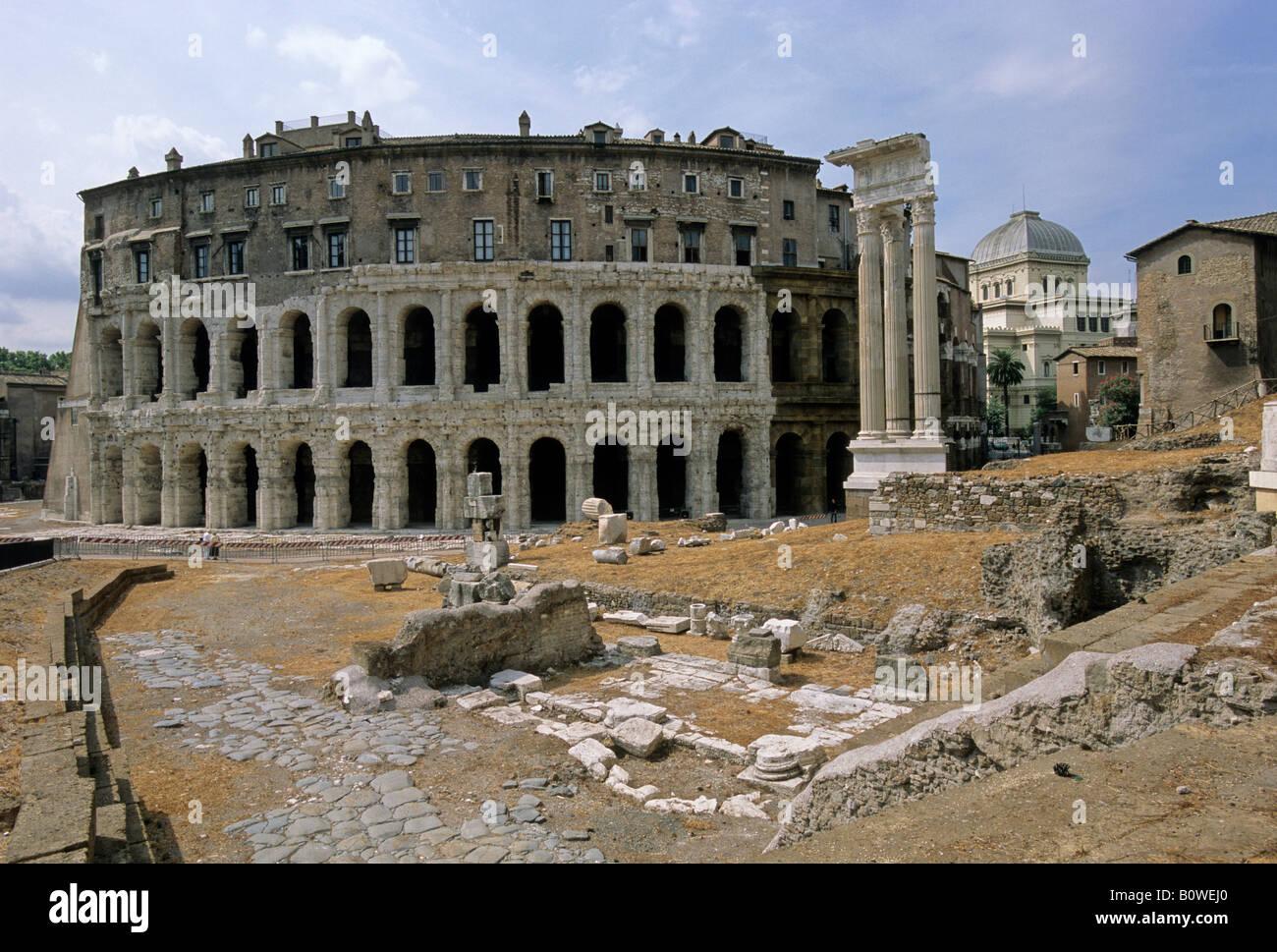Theater of Marcellus, Temple of Apollo Sosianus, synagogue, Rome, Latium, Italy - Stock Image