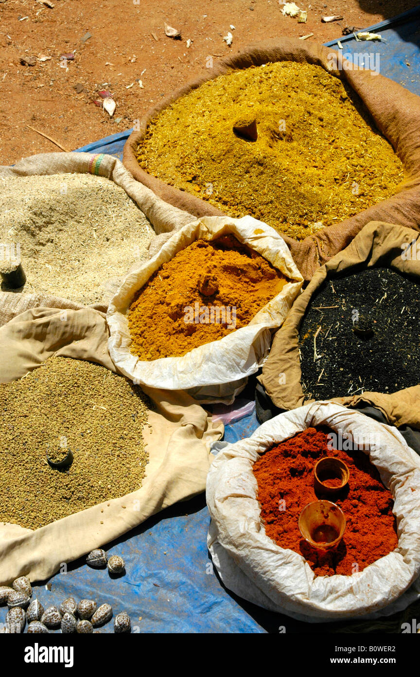 Spices packed in sacks at a market in Keyafer, Ethiopia, Africa - Stock Image