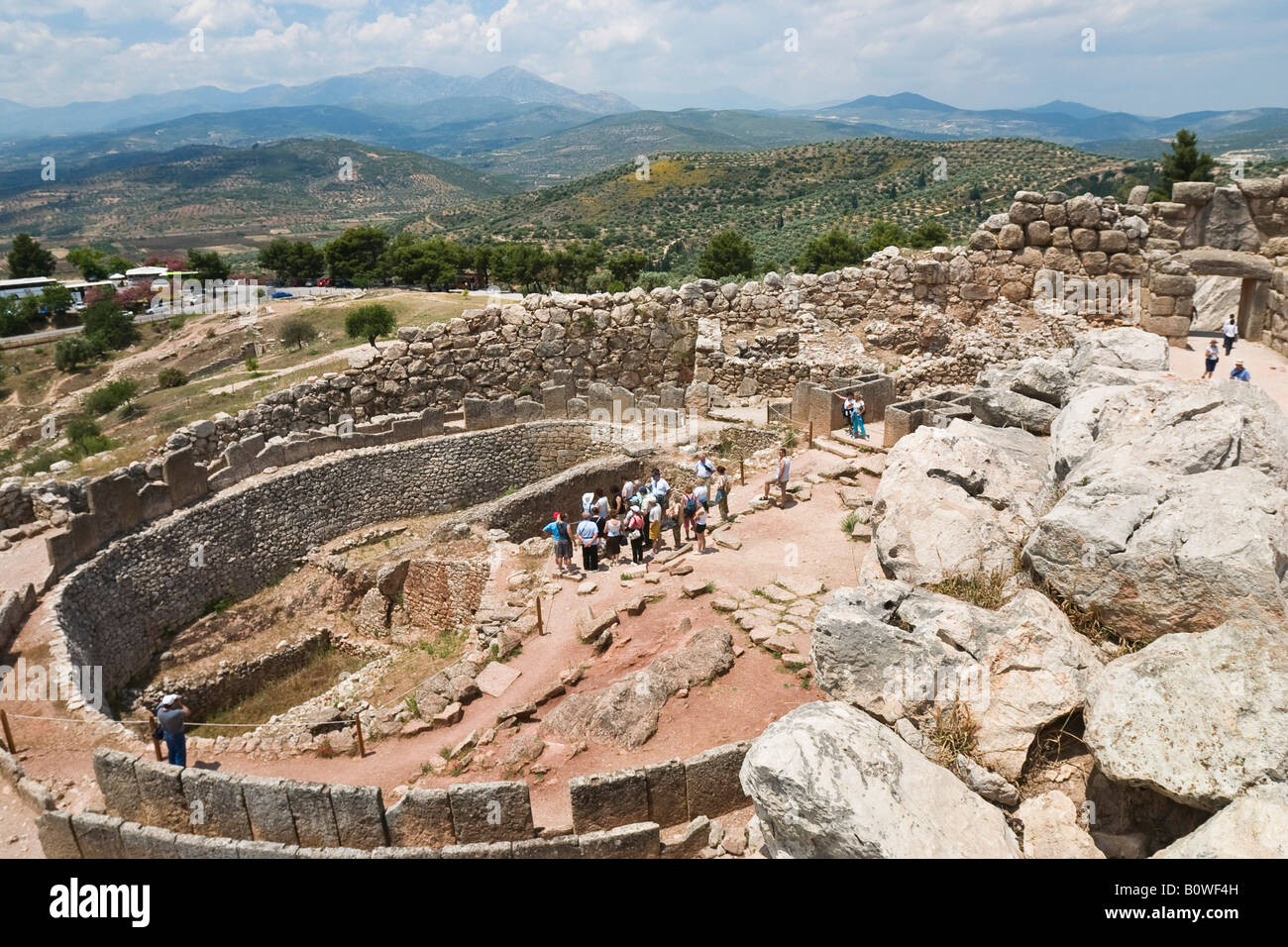 King's Graves ruins, Acropolis, Mycenae archaeological site, Peloponnese, Greece, Europe - Stock Image