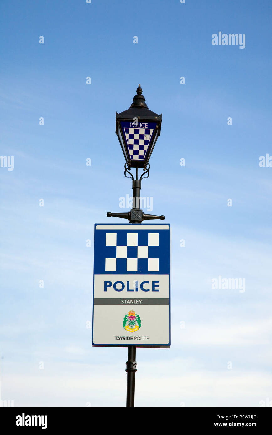 Tayside Police Sign_ Lamp standard at Stanley near Perth, Scotland, UK - Stock Image