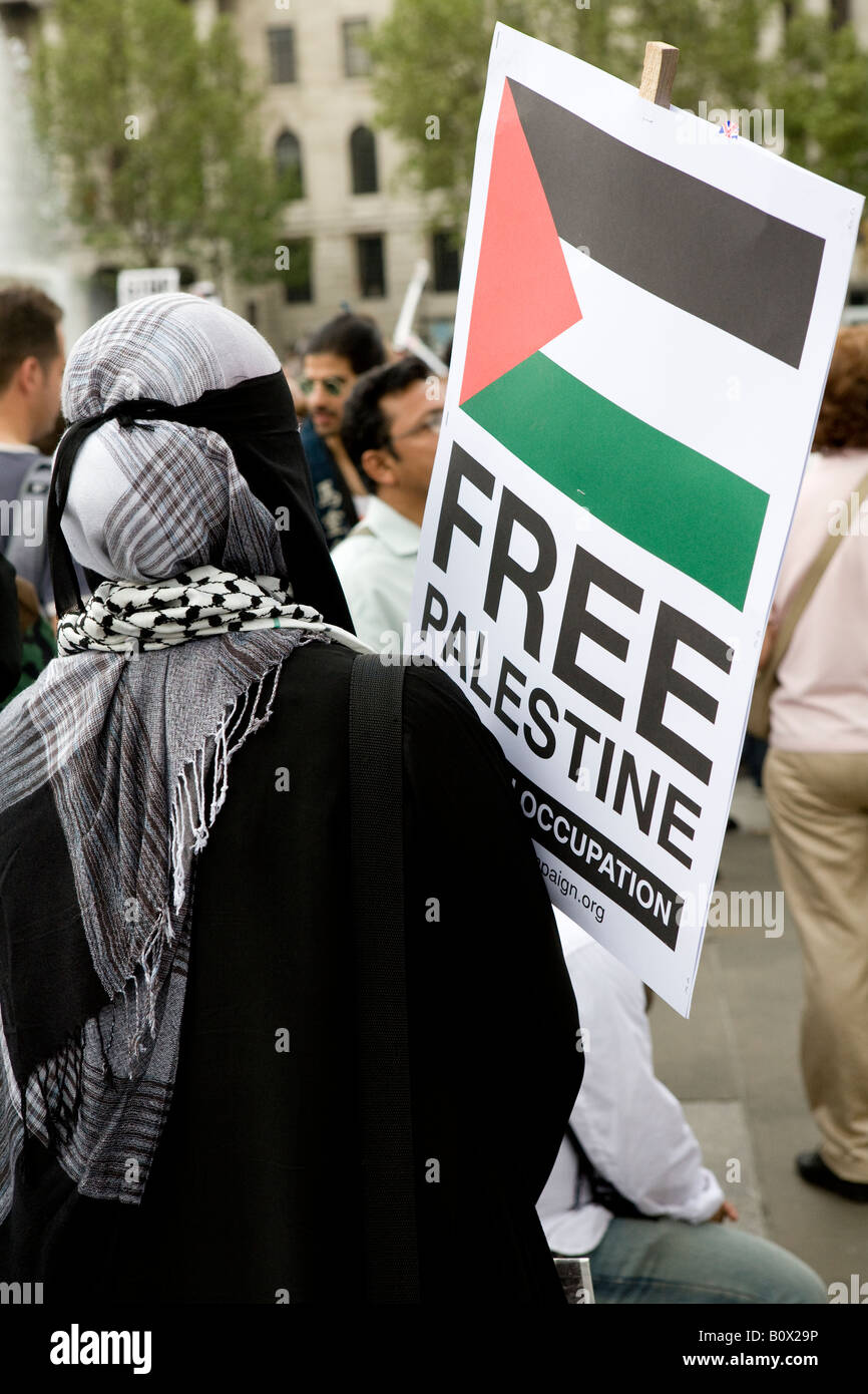 Young Palestinian Woman Holding Banner At The Freedom For Palestine Raleigh Trafalger Square London UK Europe 2008 - Stock Image