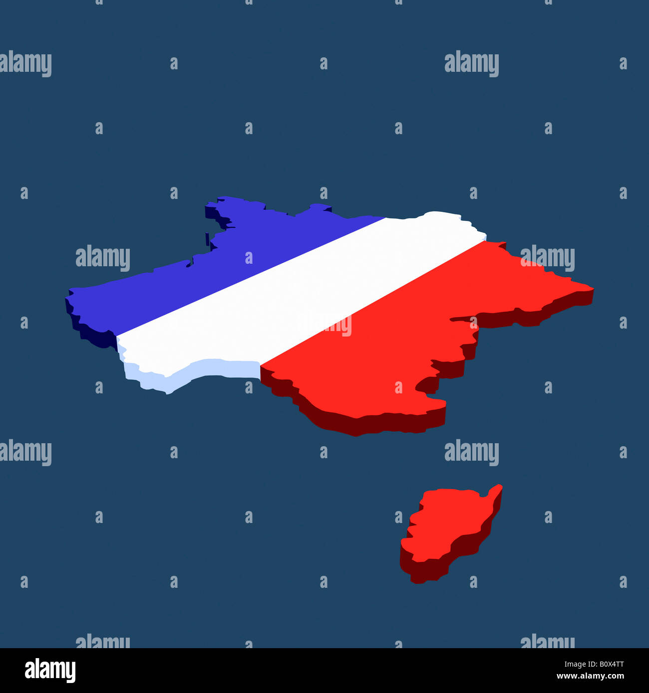French flag in the shape of France - Stock Image