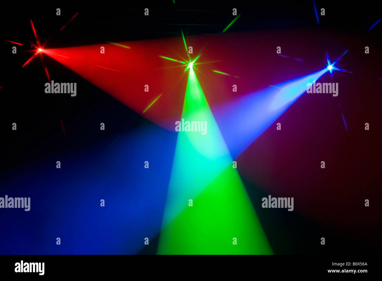 Three multi colored spotlights crossing light beams Stock Photo
