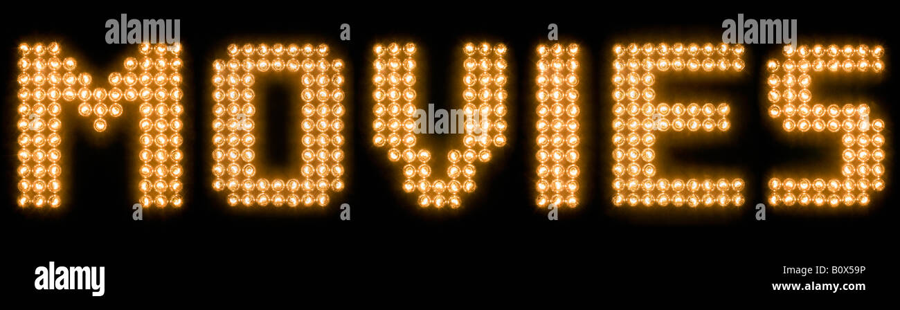 The word movies in illuminated light bulbs - Stock Image