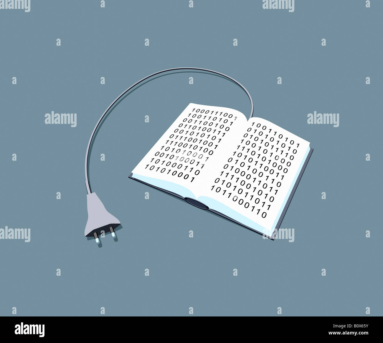 A power cable connected to a book of binary code - Stock Image