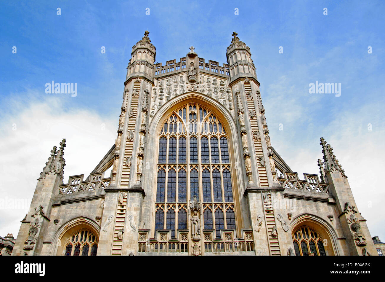 the fine architecture on the front elevation of bath abbey,somerset,england - Stock Image