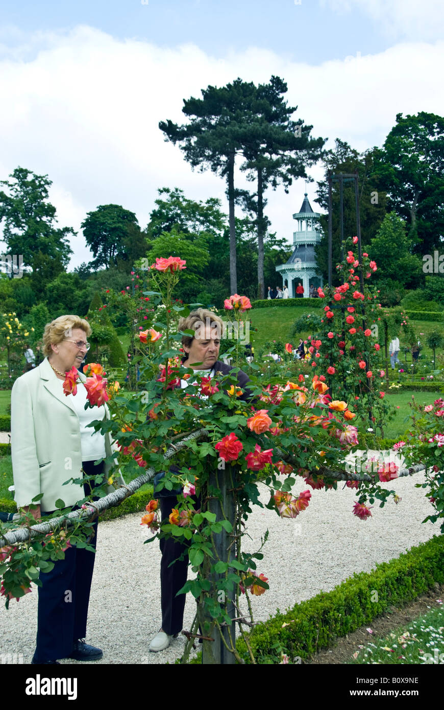 "Paris France, Public Parks, Senior People Visiting Bagatelle ""Rose Garden"" in Boulogne Park Looking at ""Hannibi Stock Photo"