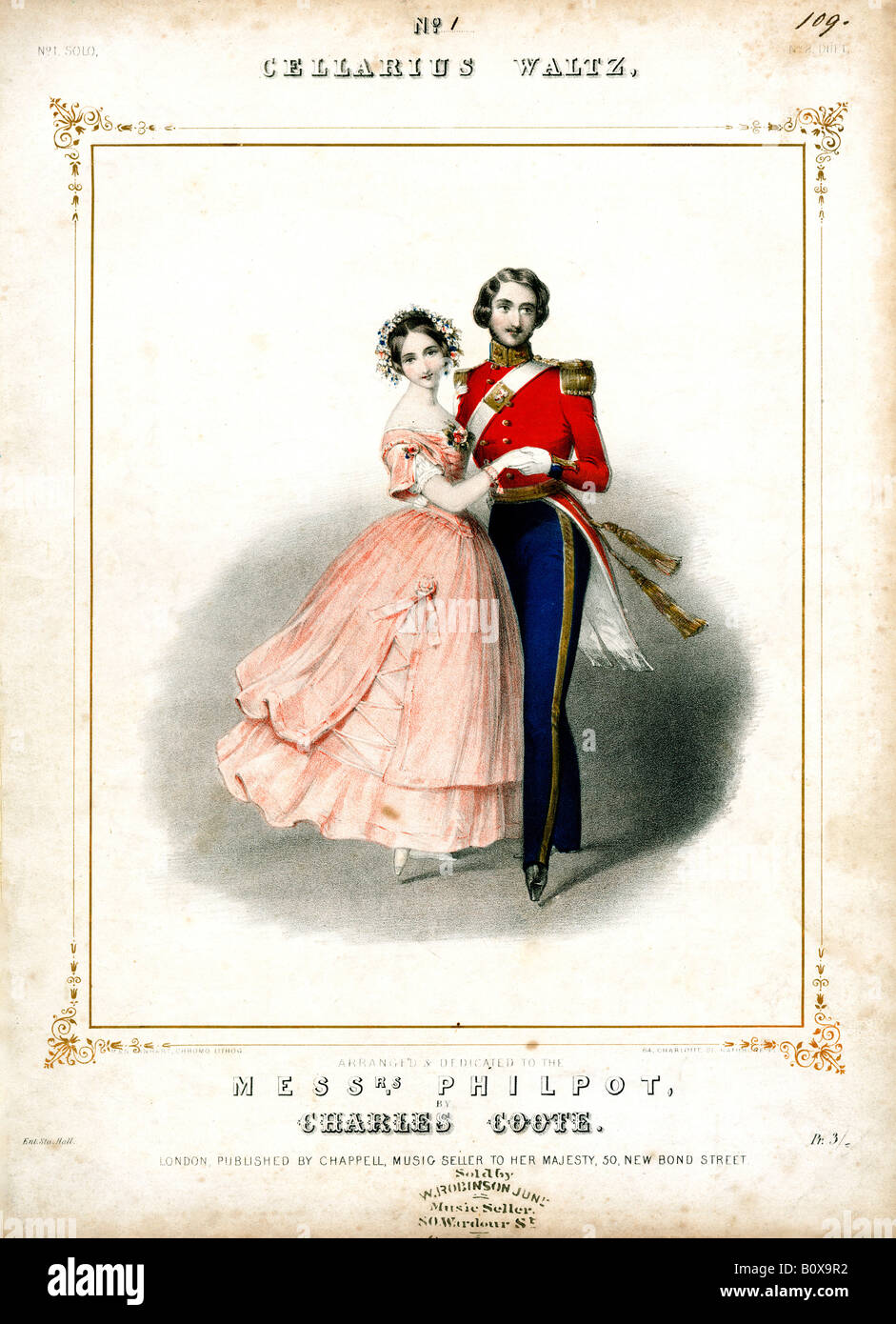 The Cellarius Waltz music for the dance aka the Mazurka introduced to England from Paris by its eponymous inventor - Stock Image
